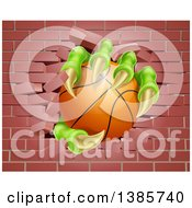 Clipart Of Monster Claws Holding A Basketball And Breaking Through A Brick Wall Royalty Free Vector Illustration by AtStockIllustration