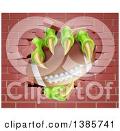 Clipart Of Monster Claws Holding An American Football And Breaking Through A Brick Wall Royalty Free Vector Illustration