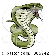 Clipart Of A Cartoon Angry Green King Cobra Snake Ready To Strike Royalty Free Vector Illustration by AtStockIllustration