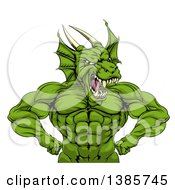 Clipart Of A Cartoon Roaring Green Muscular Dragon Man Flexing From The Waist Up Royalty Free Vector Illustration by AtStockIllustration