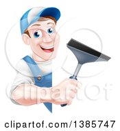 Happy Middle Aged Brunette Caucasian Window Cleaner Man In Blue Holding A Squeegee Around A Sign