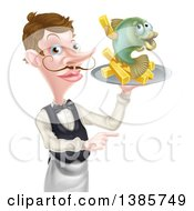 White Male Waiter With A Curling Mustache Holding Fish And A Chips On A Tray And Pointing