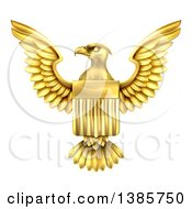 Clipart Of A Golden Heraldic American Coat Of Arms Eagle With A Shield Royalty Free Vector Illustration by AtStockIllustration