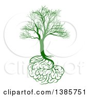 Green Bare Tree With Brain Roots Symbolizing Memory Loss
