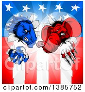 Clipart Of A Cartoon Political Aggressive Democratic Donkey Or Horse And Republican Elephant Shredding Through An American Flag And Burst Royalty Free Vector Illustration