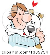 Clipart Of A Cartoon Caucasian Man Hugging His Dog Royalty Free Vector Illustration