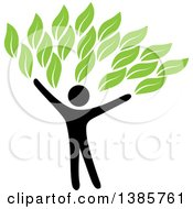 Clipart Of A Black Silhouetted Person Forming The Trunk Of A Tree With Green Leaves Royalty Free Vector Illustration by ColorMagic #COLLC1385761-0187