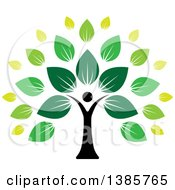 Clipart Of A Black Silhouetted Person Forming The Trunk Of A Tree With Green Leaves Royalty Free Vector Illustration