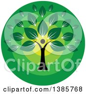 Clipart Of A Black Silhouetted Person Forming The Trunk Of A Tree With Green Leaves In A Circle Royalty Free Vector Illustration