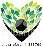 Clipart Of A Black Silhouetted Person Holding Up Green Leaves Forming A Heart Royalty Free Vector Illustration