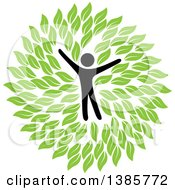 Clipart Of A Black Silhouetted Person Surrounded By Green Leaves Royalty Free Vector Illustration