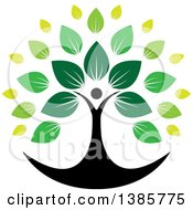 Clipart Of A Black Silhouetted Person Forming The Trunk Of A Tree With Green Leaves Royalty Free Vector Illustration by ColorMagic #COLLC1385775-0187