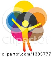 Clipart Of A Gradient Silhouetted Person Forming The Trunk Of A Tree With Colorful Circle Leaves Royalty Free Vector Illustration