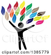 Clipart Of A Black Silhouetted Person Forming The Trunk Of A Tree With Colorful Leaves Royalty Free Vector Illustration