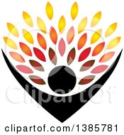 Clipart Of A Black Silhouetted Person Holding Up Leaves Royalty Free Vector Illustration