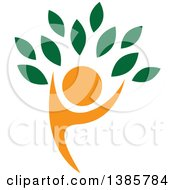 Clipart Of An Orange Silhouetted Person Forming The Trunk Of A Tree With Green Leaves Royalty Free Vector Illustration