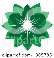 Clipart Of A Circle Or Flower Of Green Leaves Royalty Free Vector Illustration
