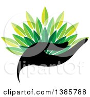 Clipart Of A Black Silhouetted Hand Holding Green Leaves Royalty Free Vector Illustration