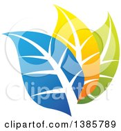 Clipart Of Blue Orange And Green Leaves Royalty Free Vector Illustration