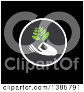 Clipart Of A White Silhouetted Hand Holding A Branch With Green Leaves In A Circle Over Black Royalty Free Vector Illustration