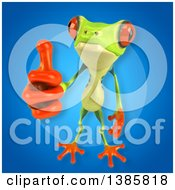 Clipart Of A 3d Argie Frog On A Blue Background Royalty Free Vector Illustration