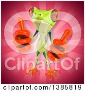 Clipart Of A 3d Argie Frog On A Pink Background Royalty Free Vector Illustration