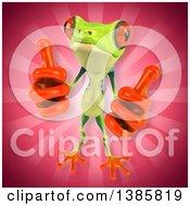 3d Argie Frog On A Pink Background
