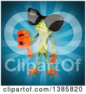 3d Argie Frog On A Blue Background