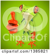 3d Argie Frog On A Green Background