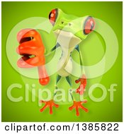 Clipart Of A 3d Argie Frog On A Green Background Royalty Free Illustration