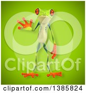 Clipart Of A 3d Argie Frog On A Green Background Royalty Free Vector Illustration