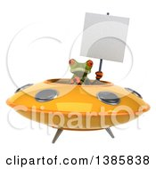 Clipart Of A 3d Green Springer Frog Flying A Ufo On A White Background Royalty Free Illustration