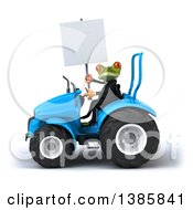 Poster, Art Print Of 3d Green Business Springer Frog Operating A Tractor On A White Background