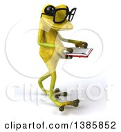 Clipart Of A 3d Light Green Springer Frog Reading A Book On A White Background Royalty Free Illustration