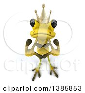 Clipart Of A 3d Light Green Frog Prince Forming A Heart With His Hands On A White Background Royalty Free Illustration