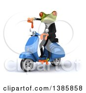 Clipart Of A 3d Green Business Springer Frog On A Moped On A White Background Royalty Free Illustration