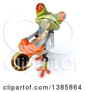 3d Green Doctor Springer Frog On A White Background