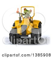 Poster, Art Print Of 3d Green Springer Frog Operating A Tractor On A White Background