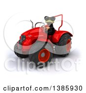 Clipart Of A 3d Green Business Springer Frog Operating A Tractor On A White Background Royalty Free Illustration