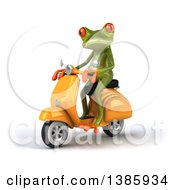 Clipart Of A 3d Green Springer Frog On A Scooter On A White Background Royalty Free Illustration