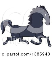 Clipart Of A Cartoon Black Horse Royalty Free Vector Illustration by lineartestpilot