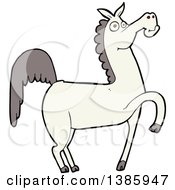 Clipart Of A Cartoon White Horse Royalty Free Vector Illustration