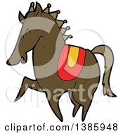 Clipart Of A Cartoon Brown Horse Royalty Free Vector Illustration by lineartestpilot
