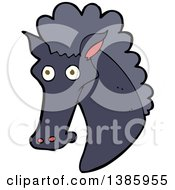 Clipart Of A Cartoon Black Horse Royalty Free Vector Illustration