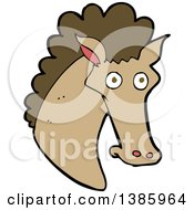 Clipart Of A Cartoon Brown Horse Royalty Free Vector Illustration