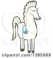Clipart Of A Cartoon White Horse Royalty Free Vector Illustration by lineartestpilot
