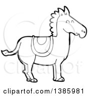 Cartoon Black And White Lineart Horse