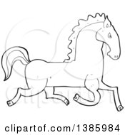 Clipart Of A Cartoon Black And White Lineart Horse Royalty Free Vector Illustration