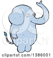 Clipart Of A Cartoon Blue Elephant Royalty Free Vector Illustration