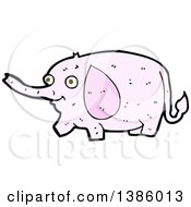 Clipart Of A Cartoon Pink Elephant Royalty Free Vector Illustration by lineartestpilot